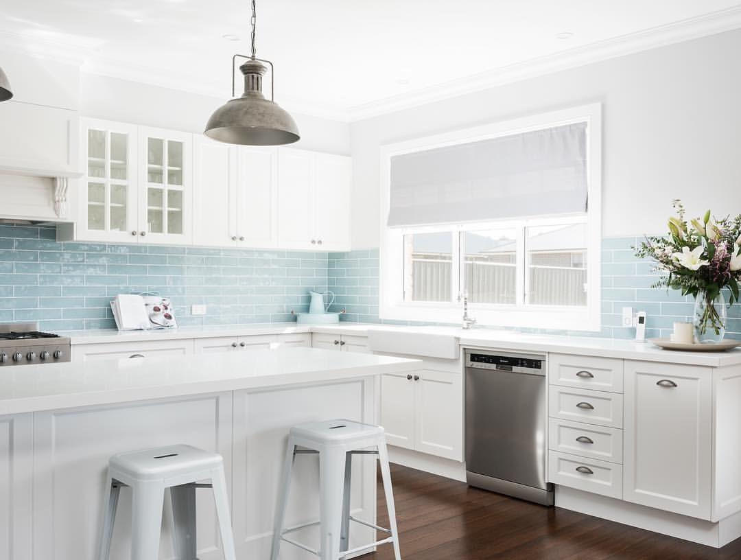 Amber Tiles Kellyville Splashback Dreams With Sea Foam Blue Subway Kitchen Splashback Amb Kitchen Remodel Kitchen Remodel Layout Kitchen Splashback Tiles