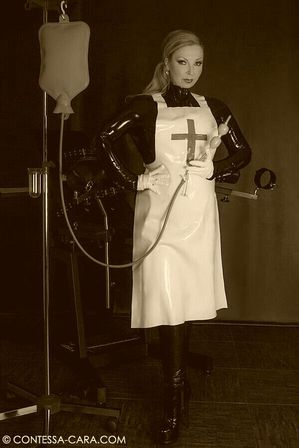 Nurse Wearing White Rubber Apron Fetish Outfits