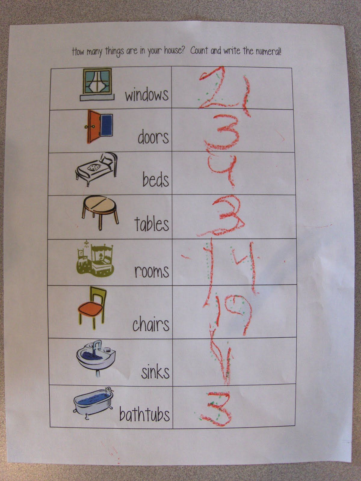 Counting items around the house Preschool learning