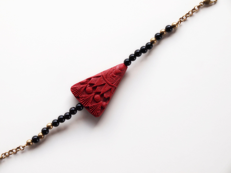 Red himo tie beaded himo tie, Kimono accessory, cinnabar