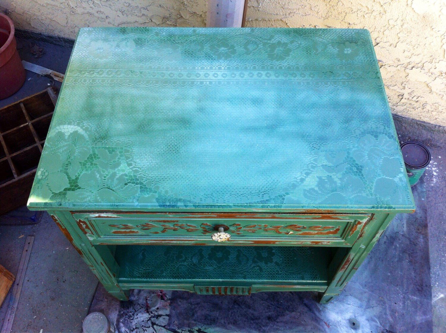 SOLD - Vintage Nightstand, antique side table, shabby chic table ...