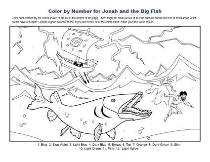Jonah And The Big Fish Color By Number Sunday School Coloring