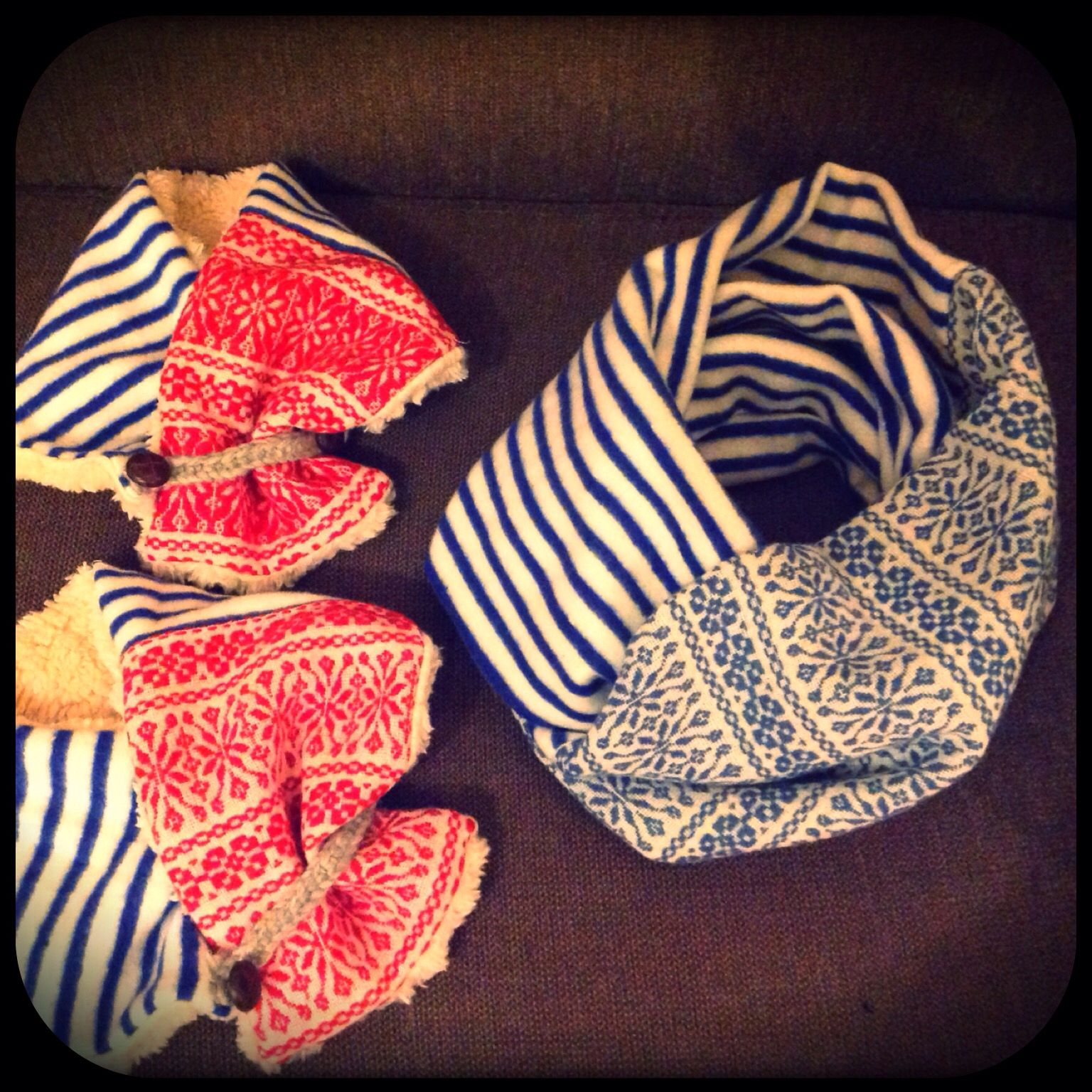Stripe and jacquard combination snood with kids