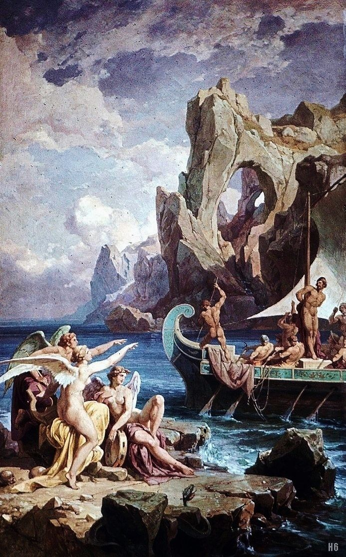 ULYSSES TIED TO THE MAST /& THE SIRENS GREEK MYTH PAINTING ART REAL CANVAS PRINT