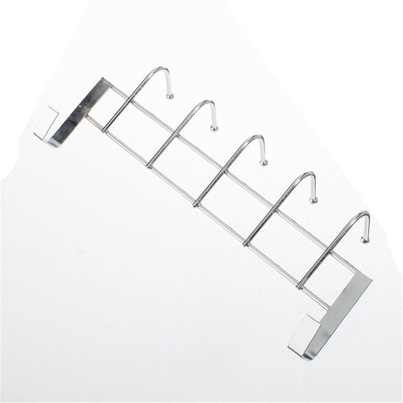 5 Hooks Towel Loop Hanger Stainless Steel Over Door Home Bathroom Kitchen  Coat Rack Holder Shelf
