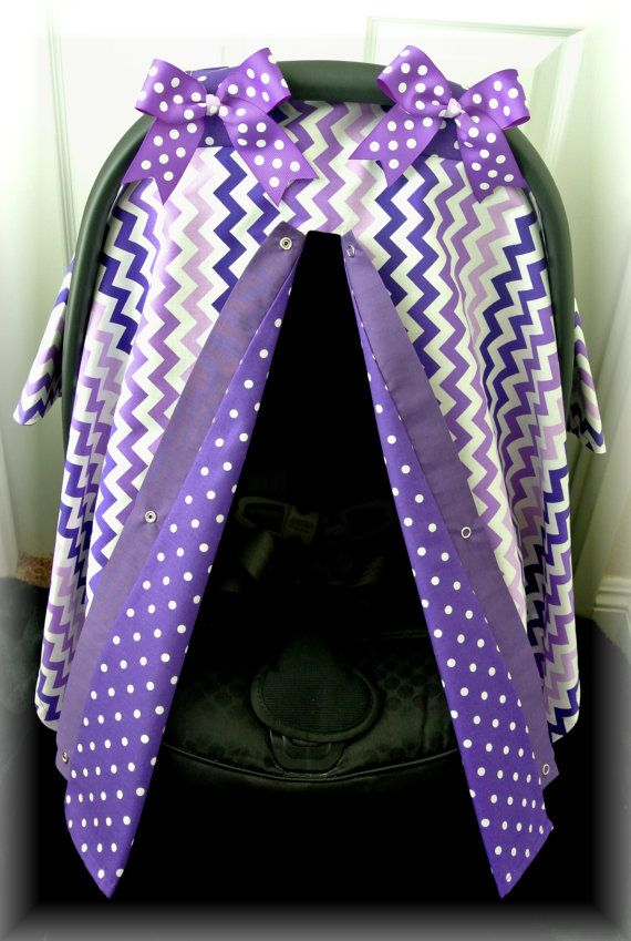 Car Seat Cover Canopy Chevron Purple Lavender Polka Dots Damask Bows Infant Girl Baby Boy