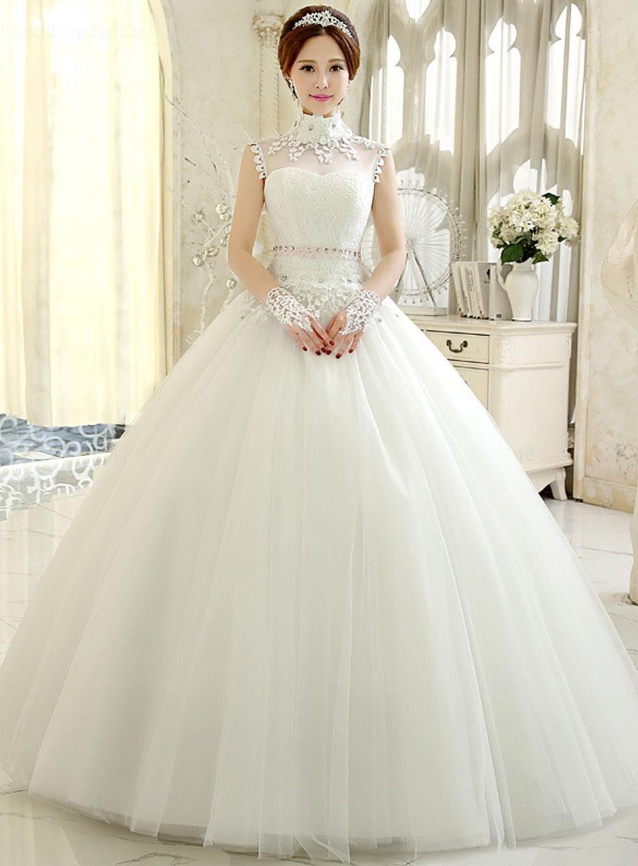 Elegant highneck ball gown tulle wedding dress wedding