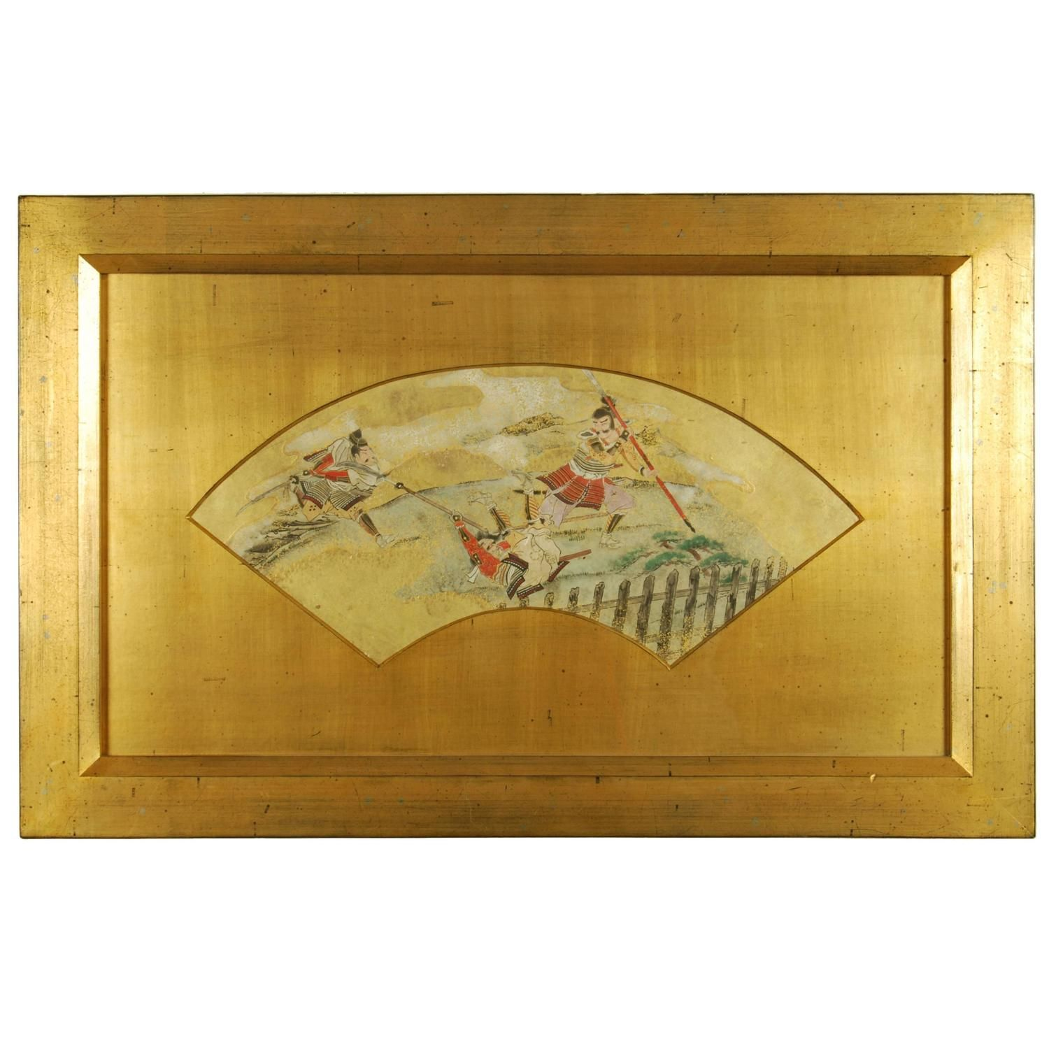 Antique Japanese Fan Painting with Scenes of a Samurai Battle