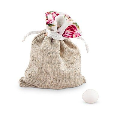 Linen Drawstring Bag With  Floral Print Trim