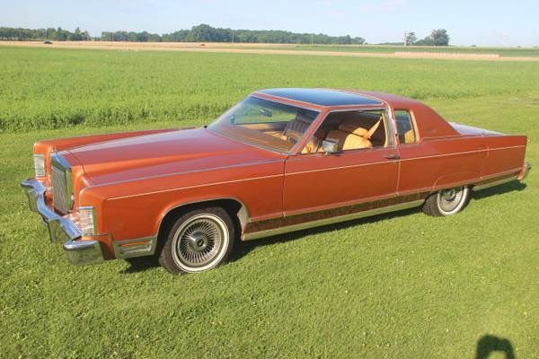 1977 Lincoln Town Car Coupe With Rare Fixed Glass Moon Roof Sky Roof Option Finished In Medium Ember Diamond Fire Metallic