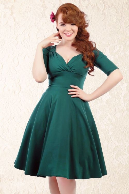 c5521582ce3 50s Trixie Doll Swing Dress in Teal