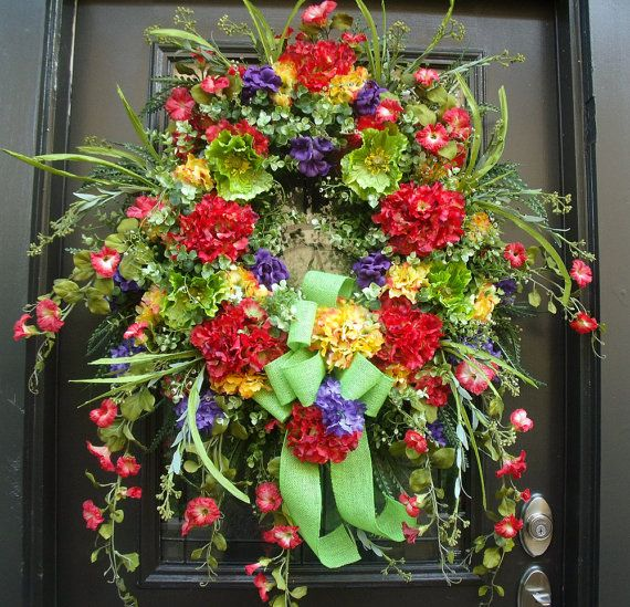 Extra Large Summer Wreath Front Door Wreath Big Wreaths Xl Wreath Hydrangeas And Morning Glory Summer Wreath Wreaths For Front Door Door Wreaths