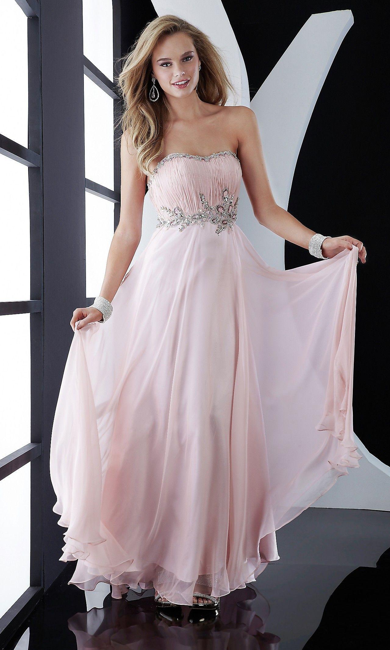Strapless Pink Chiffon Dress