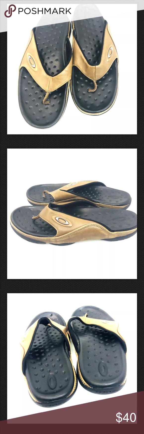 e268755bd57e97 Oakley Mens Brown Black Leather Thong Sandal US 10 Oakley Mens Brown Black  Leather Thong Flip Flop Sandals Size EU 44 US 10 Oakley Shoes Sandals    Flip- ...
