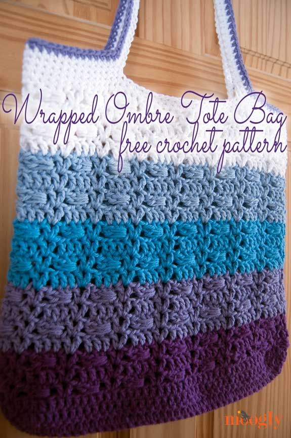 Free Crochet Pattern: Wrapped Ombre Tote Bag | Pinterest | Free ...