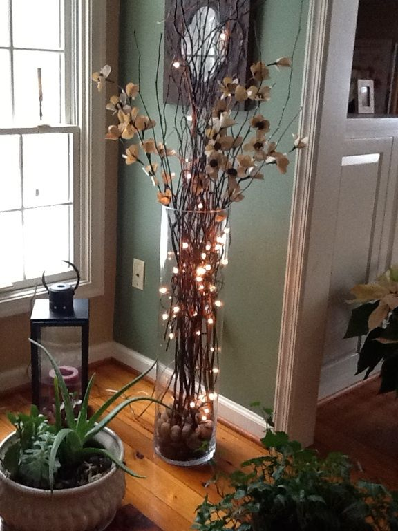 Large Vase With Twigs Lights Silk Flowers Home Decorating