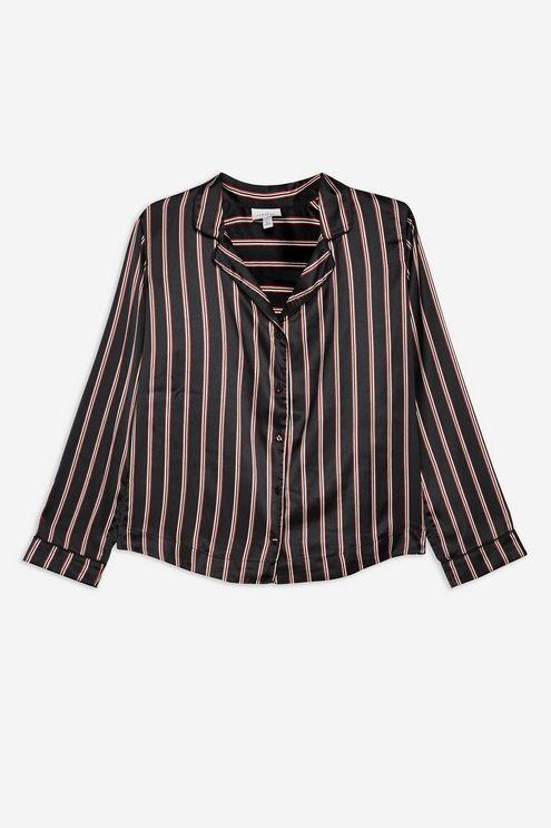 Black Satin Stripe Pyjama Shirt - Clothing- Topshop  4fc7beb72
