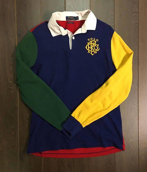 30dc15da784 90's Polo Ralph Lauren - Long Sleeve Rugby shirt - Custom Fit ...