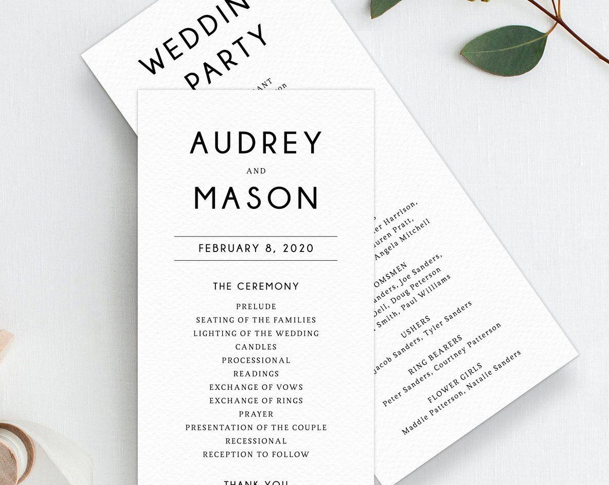 Wedding Program Template Printable Wedding Program Simple Wedding Program Editable Ceremony Programs Instant Download Templett W25 Printable Wedding Programs Wedding Programs Wedding Programs Simple