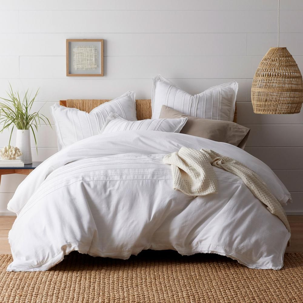 The Company Store Beachcomber White Striped Cotton Queen Duvet Cover 50375d Q White The Home Depot White Duvet Covers White Duvet Full Duvet Cover White full size duvet cover
