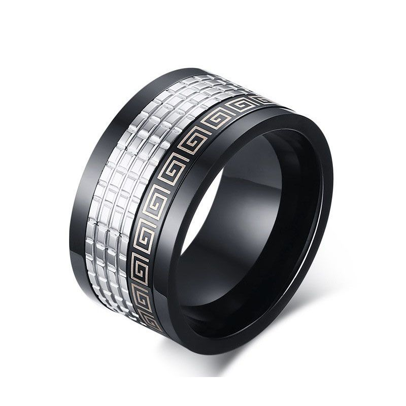 12mm Wide Retro Style Stainless Steel Mens Ring With Greek Key Pattern Black 18k Gold Plated Ring Mens Stainless Steel Rings Rings For Men Mens Rings Fashion