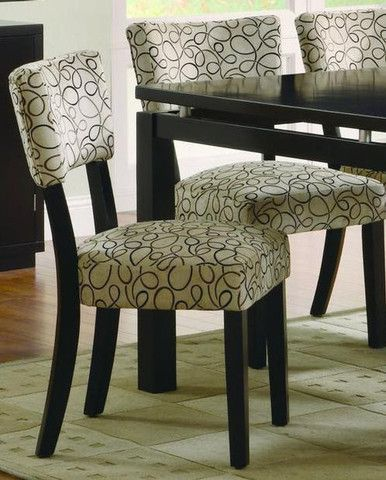 Libby dining chairs features dark cappuccino finish for Printed upholstered dining chairs