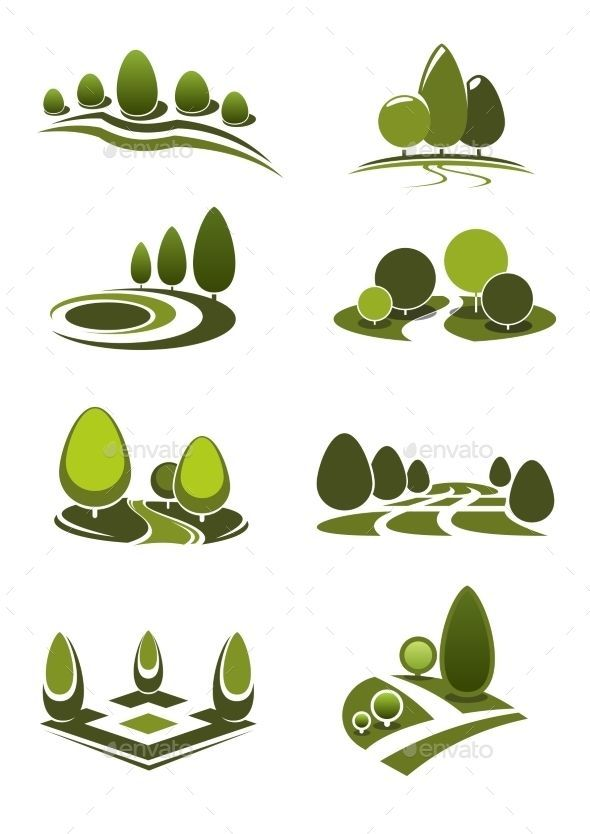 Green Park And Garden Landscape Icons | Peyzaj