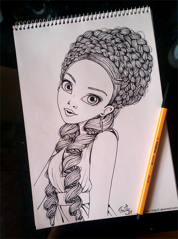 Lineart Hair Ink Girl Braid Coloring Pages Coloring Pages Inked