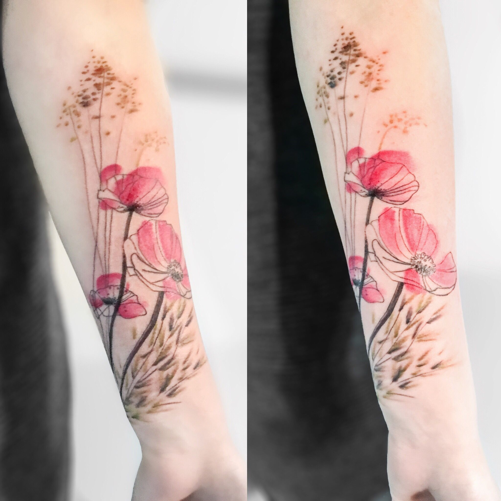 Mohnblumen Tattoo Poppy Flower Tattoo Flower Tattoo Blumen Und Graser Watercolortattoo Aquarelltattoo Mohnblumen Tattoo Haut Tattoo Mohn Blume Tattoo