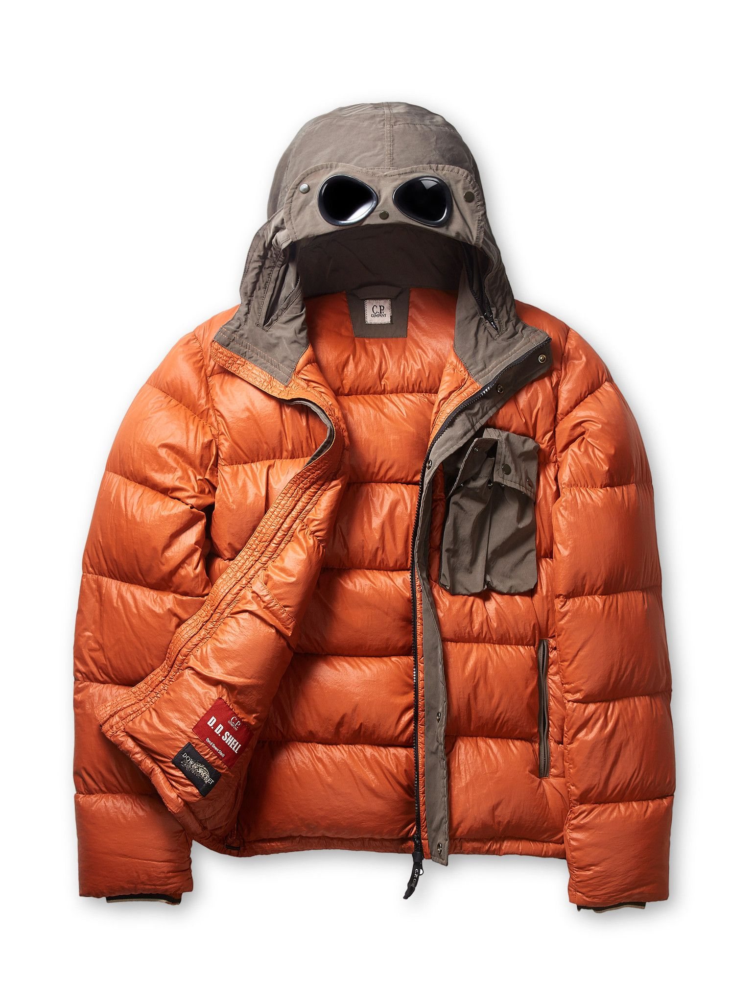 e265fd7b2 C.P. Company D.D. Shell Padded Contrast Goggle Jacket in Orange ...