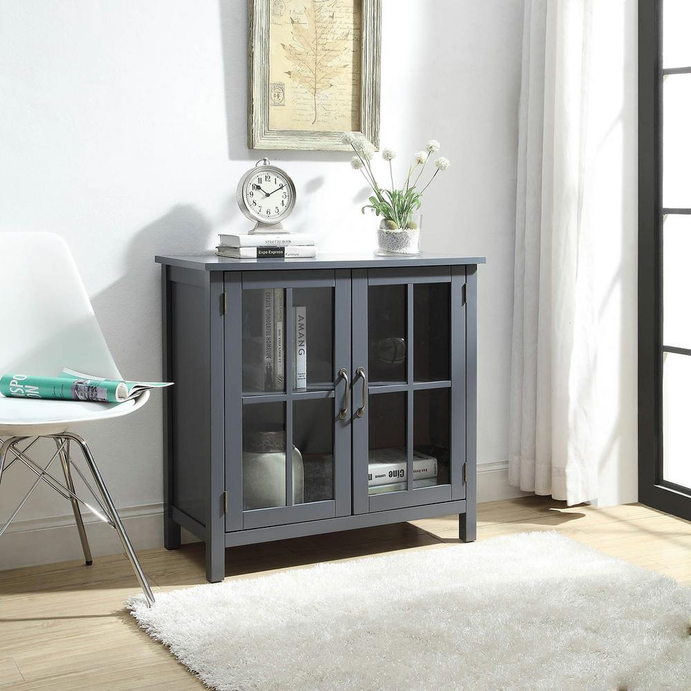 Usl Olivia Grey Accent Cabinet With 2 Glass Doors Sk19087c2 Gy The Home Depot Glass Shelves Kitchen Glass Cabinet Doors Stylish Cabinet