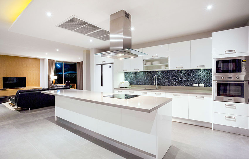 Modern Single Wall Kitchen With Island White Cabinets And Open Plan Layout Kitchen Design Open One Wall Kitchen Kitchen Designs Layout