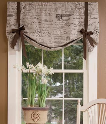 Parisian Note Lined Tie Up Valance · Kitchen CurtainsValance ...