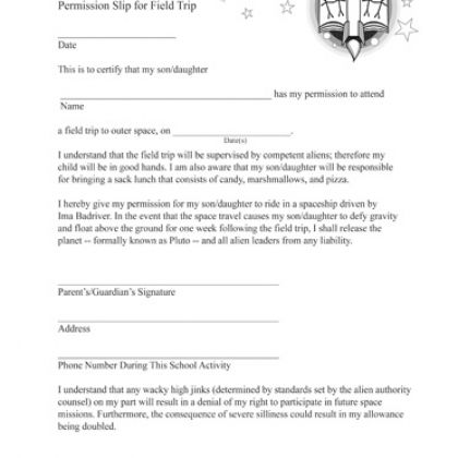 Fake Field Trip Permission Slip Printable Prank – Permission Slip Template