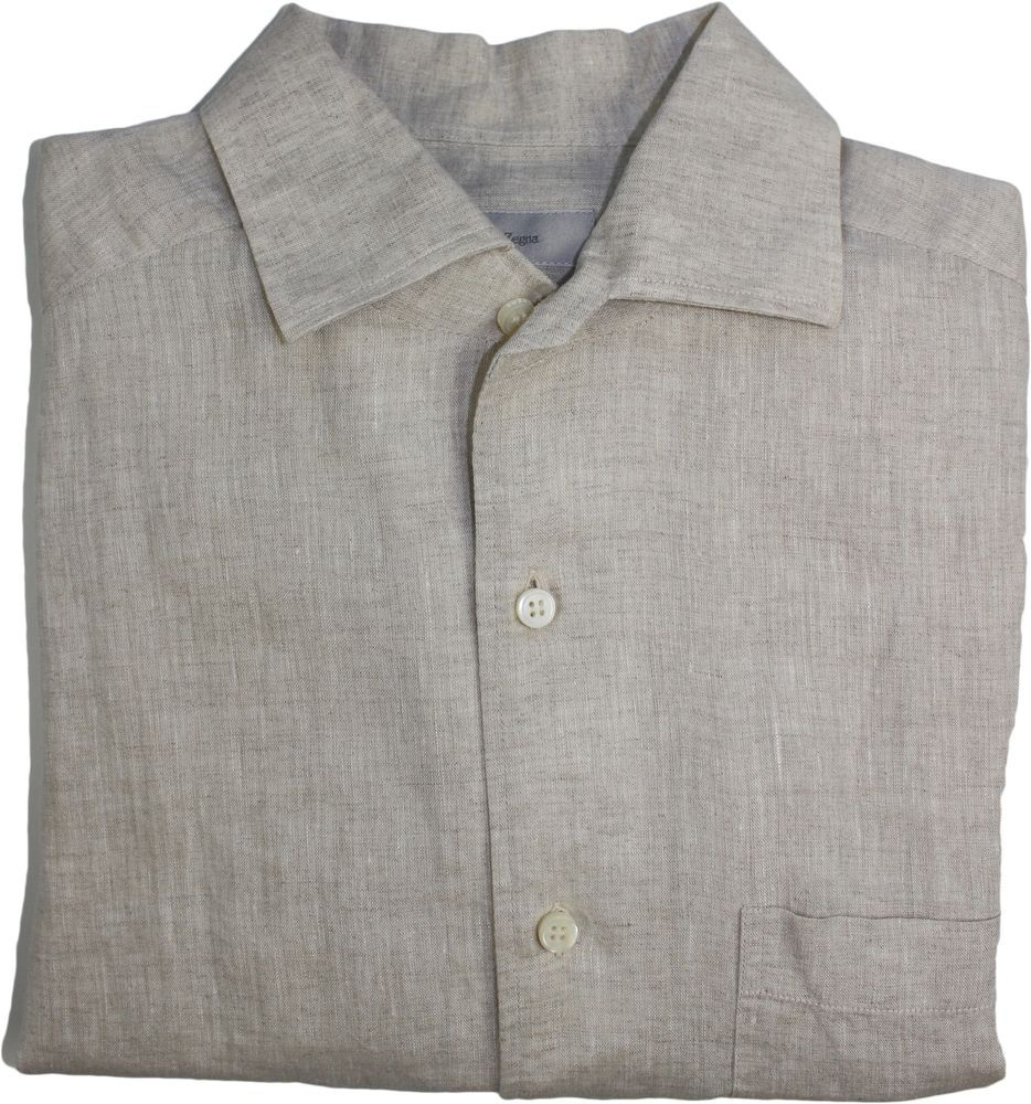 ERMENEGILDO ZEGNA MEN'S LONG SLEEVE SHIRT-BEIGE LINEN-S-MADE IN ITALY #ErmenegildoZegna
