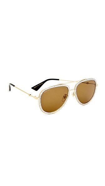 5815f9edb224 Get this Gucci s sunglasses now! Click for more details. Worldwide  shipping. Gucci Pilot Urban Web Block Aviator Sunglasses  Glitter resin  trims the edges ...