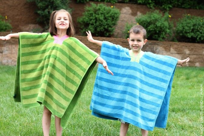 Beach towel ponchos- better than a coverup.  Very clever!