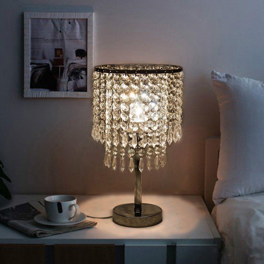 Hile Lighting Ku300085 Chrome Round Crystal Chandelier Bedroom Nightstand Table Lamp Amazon Com Crystal Chandelier Bedroom Chandelier Table Lamp Lamp Decor