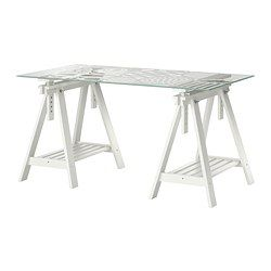 IKEA - GLASHOLM / FINNVARD, Table, , The table top in tempered glass is  stain resistant and easy to clean.Plenty of room on the shelf under the  trestle for ...