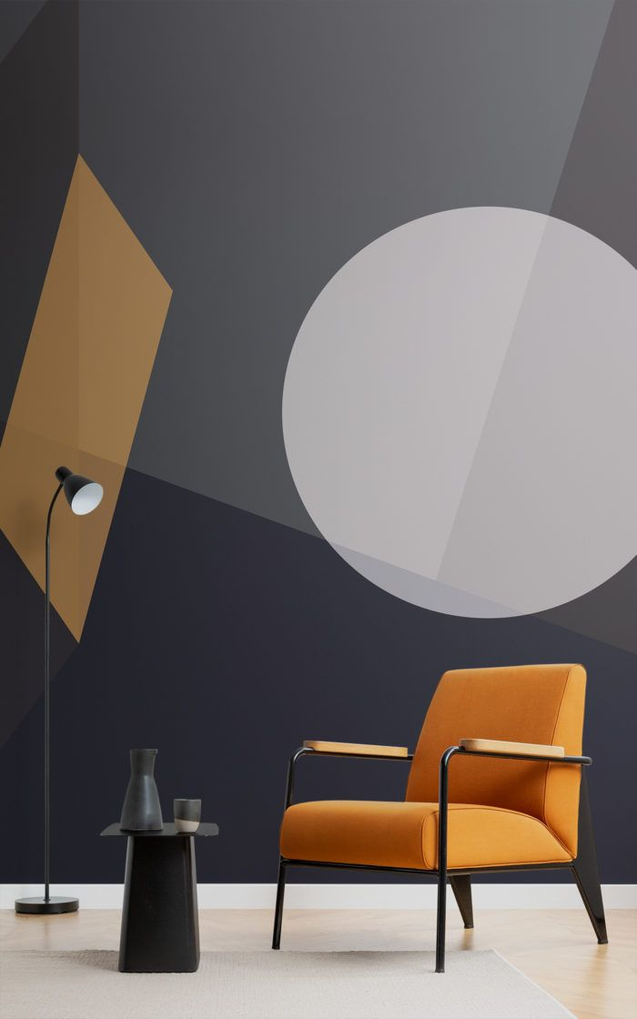 Mid Century Modern Circle Geometric Wallpaper Mural Wall