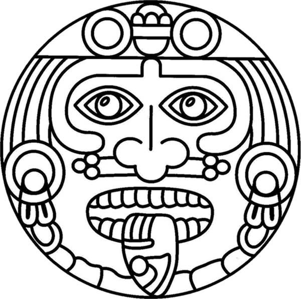 Aztec Symbol Of God Coloring Pages Bulk Color Simbolos