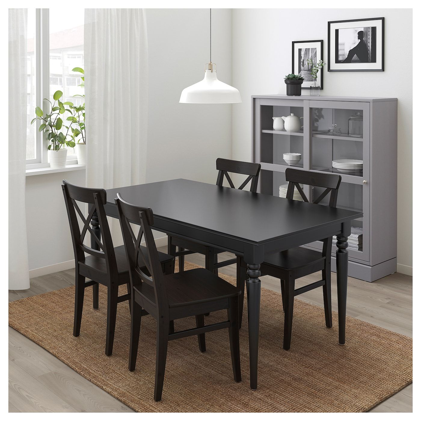 Ingatorp Ingolf Table And 4 Chairs Black Brown Black Ikea In 2021 Black Dining Room Sets Modern Dining Room Tables Modern Dining Room