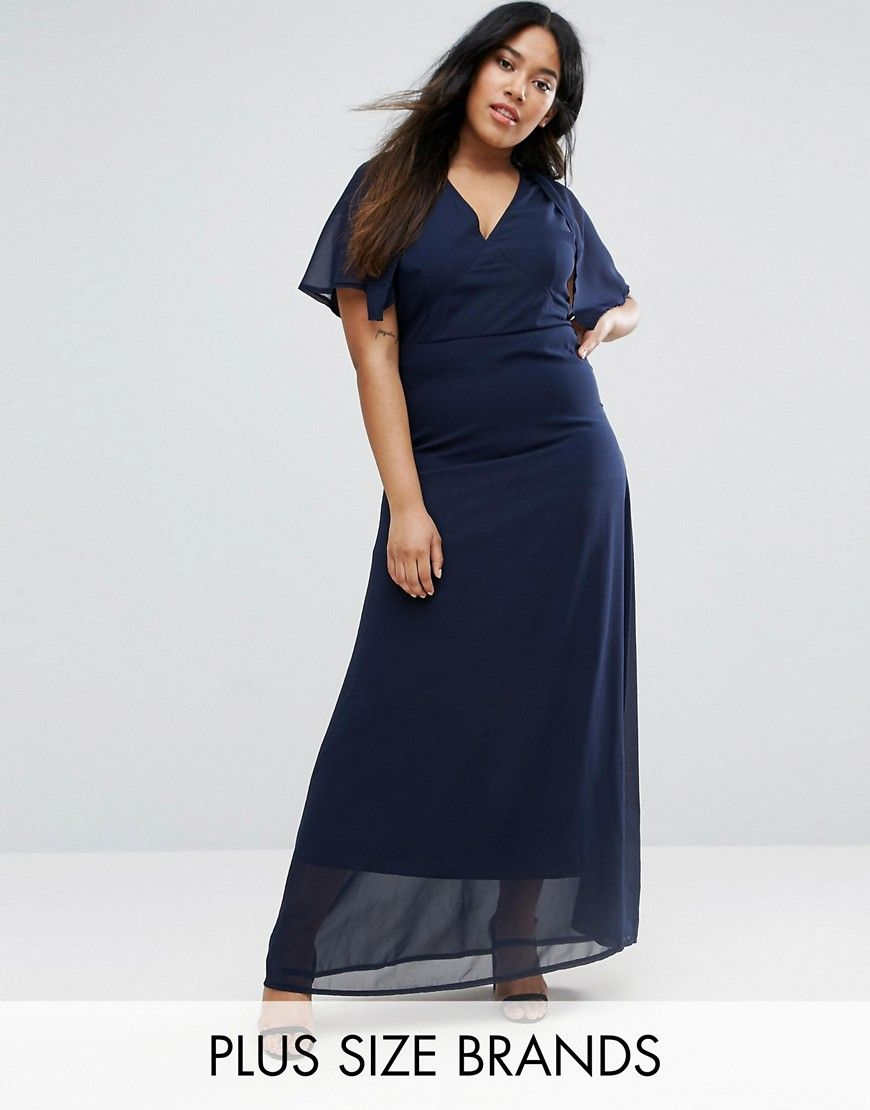 Club l plus maxi dress with cape back navy products pinterest