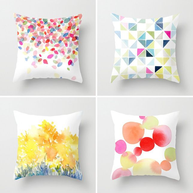 Pillow Painting Ideas: 22 Wonderful Ways to Rock Watercolor   Sharpies  Fabric painting    ,