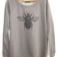 Bee  Womens Printed Sweat dark grey raglan sweatshirt organic cotton