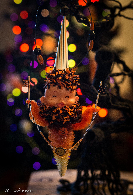 Vintage Elf Goblin Halloween Bottlebrush Tree Ornament