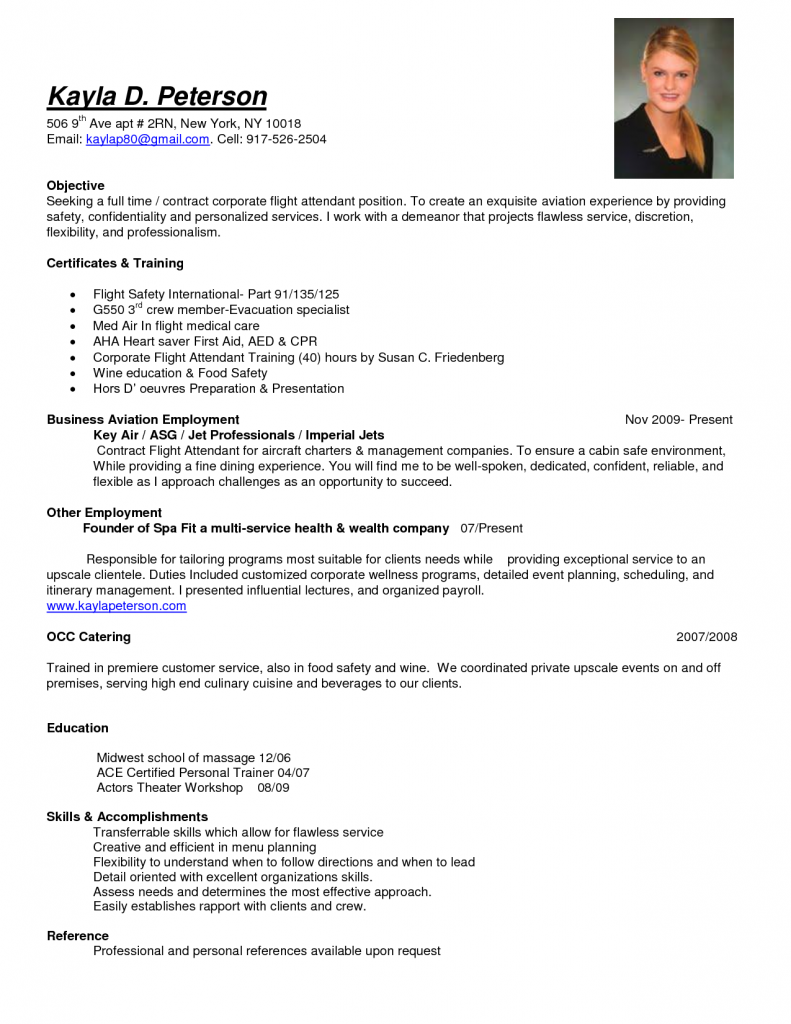 personal trainer resume sample flight attendant resume