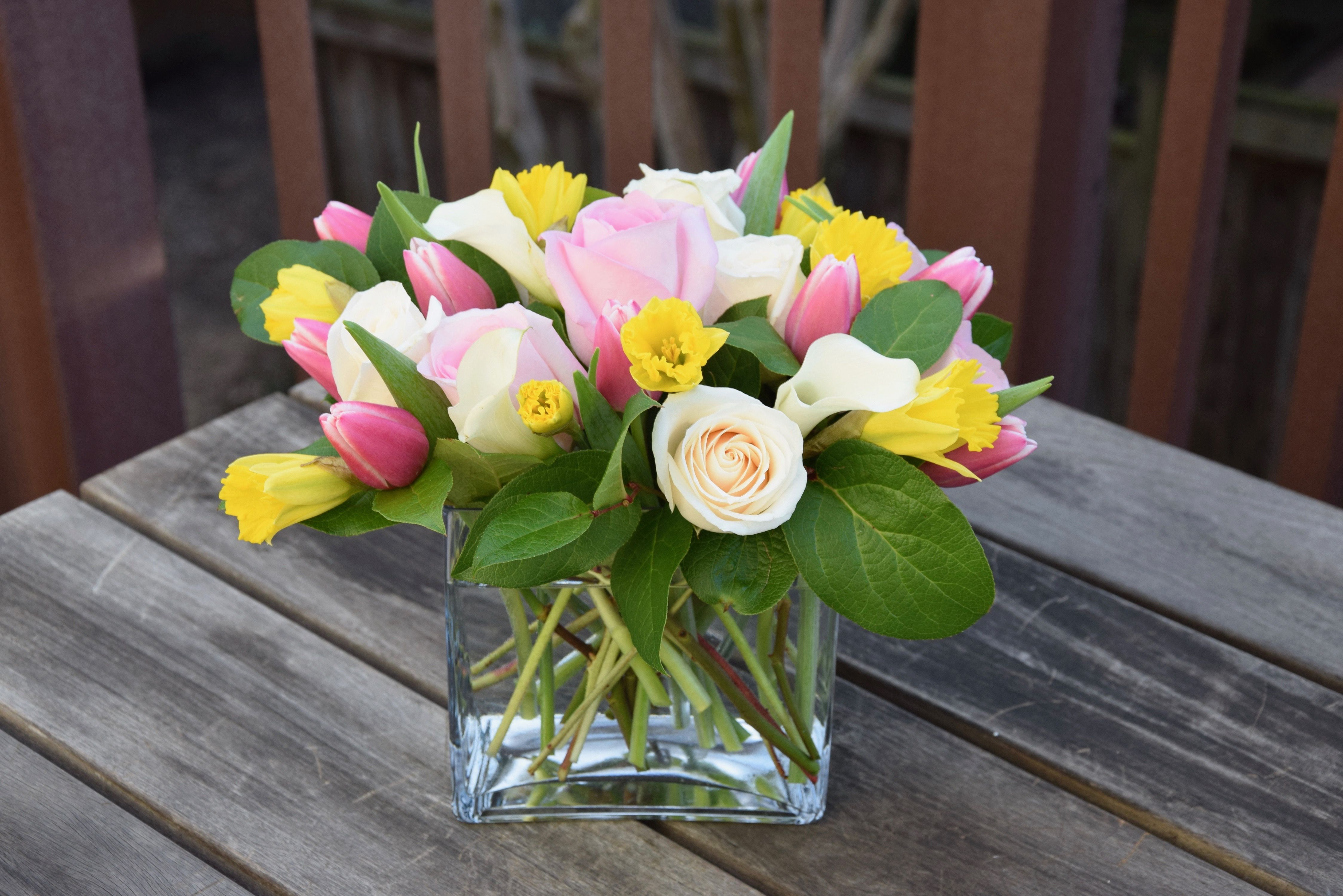Spring Flower Arrangement With Daffodils Tulips Roses Spring