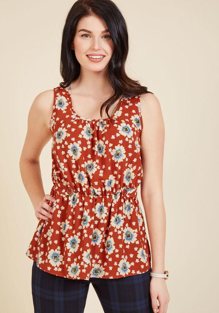 #AdoreWe #ModCloth ModCloth Lively Workplace Sleeveless Top in Brick Floral - AdoreWe.com