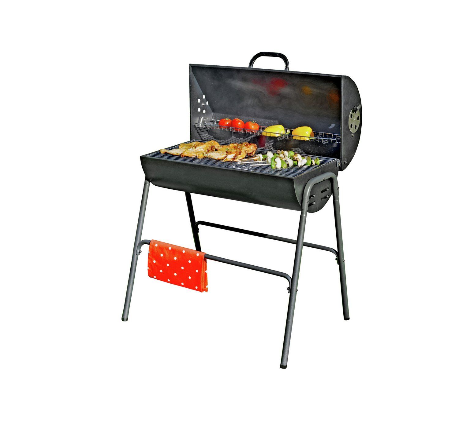 Buy argos home charcoal oil drum bbq with warming rack